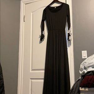 Long black dress with white lace